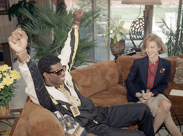 Always comfortable in front of the camera, Sanders is pictured here with reporter Andrea Kremer during the 1989 NFL Draft. Sanders was eventually selected fifth overall by the Atlanta Falcons. He played in Atlanta for the first four years of his career.