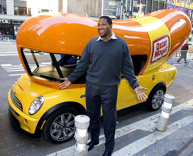 To commemorate the 75th birthday of the Oscar Mayer Wienermobile (July 18), here are sports figures with their hot dogs.