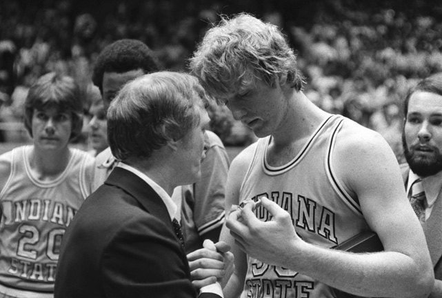 Bird was recruited to Indiana State by assistant coach Bill Hodges (left) and enrolled in the fall of 1975. He was forced to redshirt a season and didn't begin playing for the Sycamores until the 1976-77 season.
