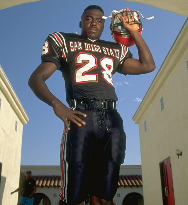 Marshall Faulk will be inducted in the Pro Football Hall of Fame on Aug. 6. The multi-purpose running back gained over 12,000 rushing yards in his 12-year career.   Faulk became a star at San Diego State, where he rushed for 1,429 yards and 21  touchdowns his freshman year, including a 386-yard, seven-touchdown performance against Pacific in just his second game.