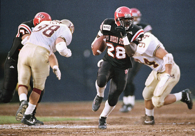 Over the next two seasons, Faulk emerged as the nation's top running back. After his junior season, he decided to enter the NFL Draft, leaving behind an impressive legacy at San Diego State. In all, he set or tied 19 collegiate records. He ran for over 200 yards on seven occasions (including two 300-yard games) and accumulated a career total of 4,589 yards (fourth best in NCAA history among three-year players) with 62 touchdowns (second all-time in NCAA history).