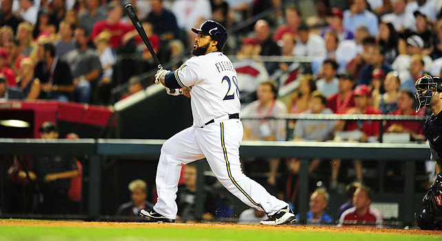 Prince Fielder hit the first home run by a Brewer in the All-Star Game, a three-run shot in the bottom of the fourth to give the NL a 3-1 lead.