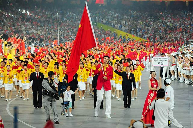 Yao Ming carries the Chinese flag during the opening ceremonies for the 2008 Summer Olympic Games in Beijing.
