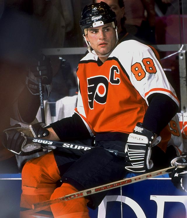 Often presumed to be yet another high double-digit proclamation of greatness -- Lindros was hailed as The Next One upon his being drafted first overall in the 1991 NHL draft -- but his 88 was actually a tribute to the father of a friend and junior hockey teammate. John McCauley was an NHL referee who wore 8 before becoming the league's Director of Officiating. McCauley, who died in 1989, mentored Lindros during his rise through the junior ranks, so the young center chose 8 as a memorial while playing for Detroit Compuware of the NAHL in 1989-90. When he moved on to Oshawa of the OHL later that season, 8 was already taken, so Lindros changed to 88.