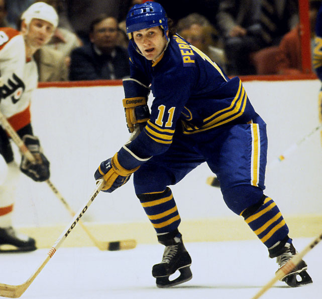 The Hall of Famer's number was literally determined by pure chance. Buffalo GM Punch Imlach picked 8 through 12 for a roulette wheel spin to determine the NHL's first overall draft pick in 1970, the year the Sabres and Canucks entered the league. (Vancouver got 1-6, with 7 declared a do-over.) Imlach's favorite number happened to be 11, and when it came up and the Sabres were able to draft Perreault, the future star on Buffalo's famed French Connection Line put it on his sweater.