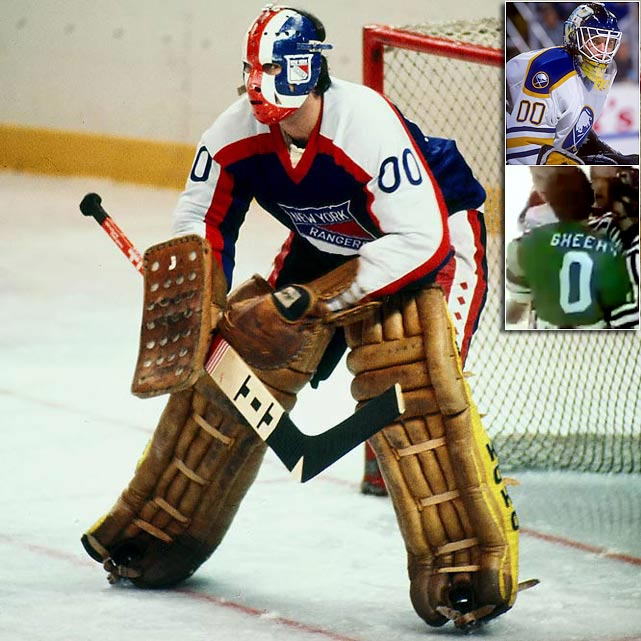 A potential statement for a goalie who lays goose eggs on the scoreboard and score sheet. In 1977, the Ranger netminder switched from 30 to 00 for a season in which he went 14-13-4 with one measly shutout. Returning to 30 for `78-79, his performance noticeably improved as he helped lead New York to the Stanley Cup Final.   The last goalie to wear 00 was Buffalo backup Martin Biron, who was forced to switch in 1998 when the NHL enacted a rule requiring players to wear numbers 1-98 (with Wayne Gretzky's 99 untouchable.)  Fun Fact: 0 has been worn (briefly) by only one player: Hartford Whalers defenseman Neil Sheehy in 1988. When his family emigrated from Ireland, their name was O'Sheehy. Neil figured it was the best way to get the O' back on his back.