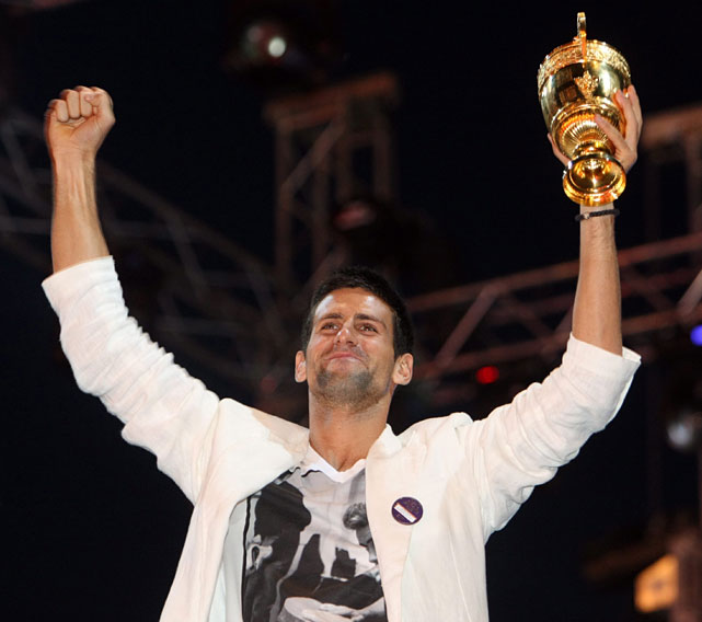 Novak Djokovic received a stormy welcome at the homecoming ceremony after capturing the Wimbledon title Sunday with a famous victory over Rafael Nadal.