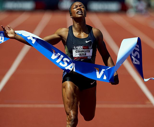 After the humiliation of failing to qualify for the Beijing Olympics, Jeter changed coaches and re-evaluated her race tactics. One year later, she was the fastest woman in the world; her time of 10.64 at the Shanghai Golden Grand Prix in 2009 is second alltime only to Florence-Griffith Joyner.