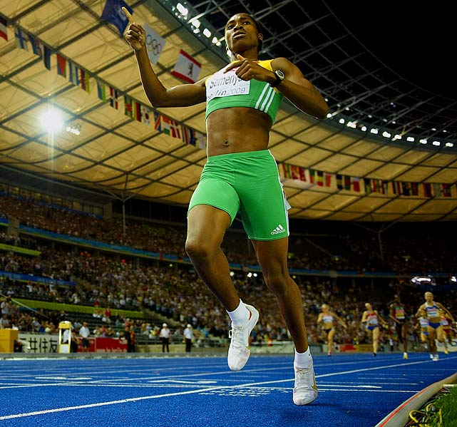 Semenya is a middle-distance runner who won gold in the women's 800 meters at the 2009 World Championships. After her dominating victory, Semenya's critics claimed that she had a physical condition that gave her an advantage over other female racers. The IAAF controversially gave Semenya gender tests and she wasn't allowed to participate in certain events in 2010. Semenya has since been cleared to race in any future events including the Olympics.