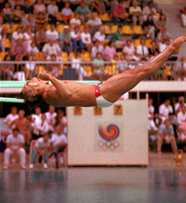 Diver Greg Louganis hit the end of the springboard during the 1988 Seoul Olympics. Despite the painful dive, he went on to win the gold medal in the event.
