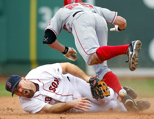 Red Sox third baseman Kevin Youkilis isn't used to covering second base. After this collision with Peter Bourjos, he may never want to cover that bag again.