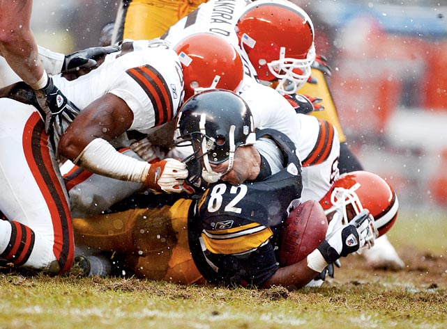 Chris Akins (36) nearly ripped Antwaan Randle El's facemask off during a 2003 game between the Browns and Steelers.