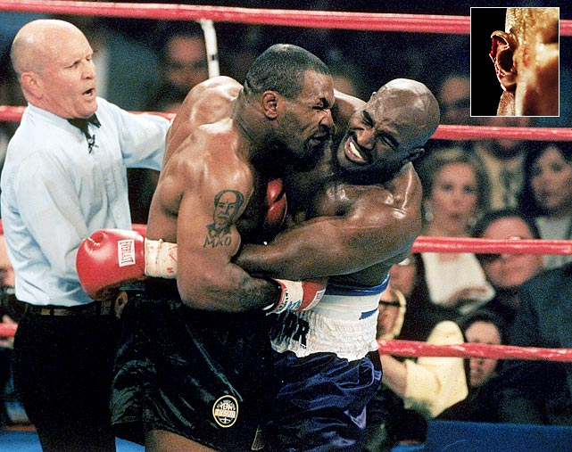 Mike Tyson bit part of Evander Holyfield's ear off during a 1997 heavyweight bout.