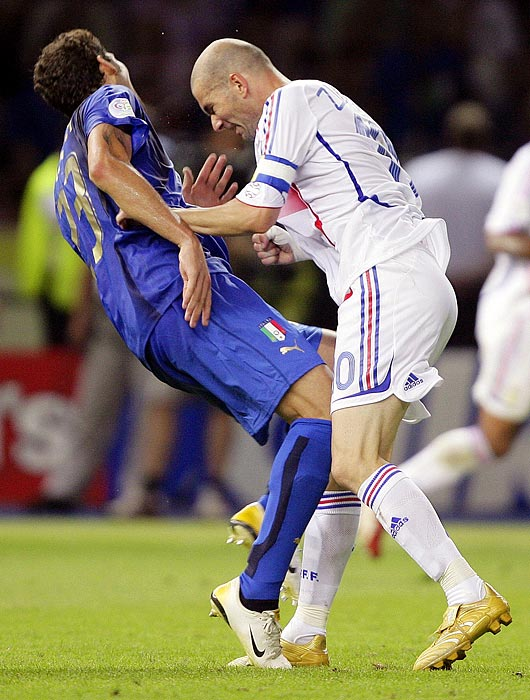 Zinedine Zidane of France (right) head-butted Italy's Marco Materazzi during the final game of the 2006 World Cup. Zidane received a red card and saw his team lose in penalty kicks.