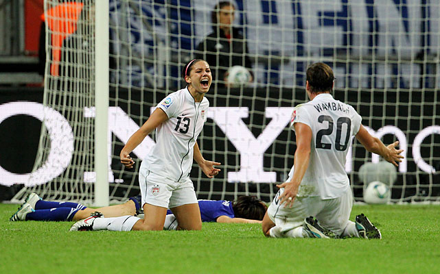 Alex Morgan (left), 22, celebrates her second goal of the tournament, a 69th-minute strike to put the U.S. up 1-0 in the final. Morgan was the youngest player on the U.S. team.