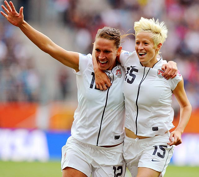 Midfielder Megan Rapinoe (right) celebrates with Lauren Cheney after Rapinoe's strike gave the U.S. a 2-0 lead over Colombia.