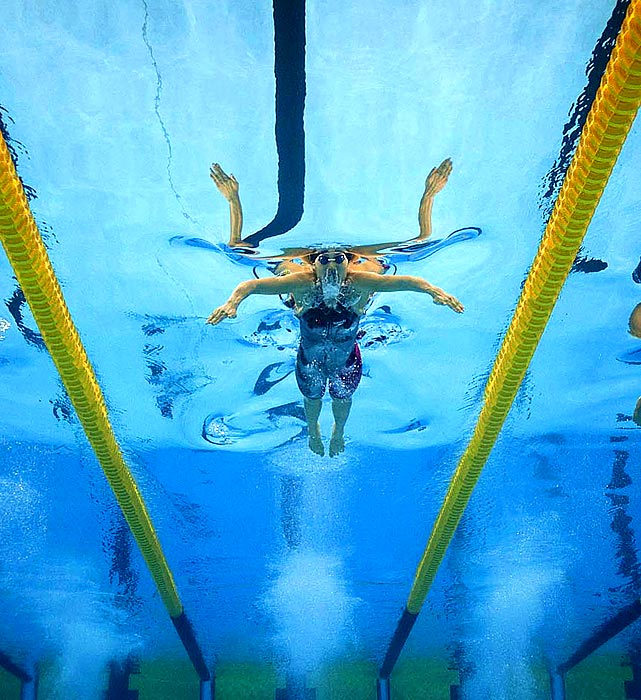 An underwater camera catches China's Ji Liping in the stretch run of the 100-meter breaststroke final. Liping finished in third place, behind Rebecca Soni and Leisel Jones.