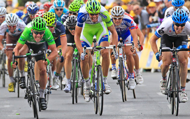 Mark Cavendish (left) won his fourth stage of the Tour, making it four straight years of at least four stage wins. Cavendish held onto the sprinter's green jersey going into the second and final rest day.