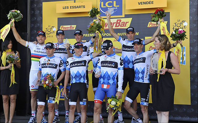 The team time trial was part of the Tour for the second time in three years. Like in 2009, an American team won. Garmin-Cervelo took the stage and put Thor Hushovd in the yellow jersey.