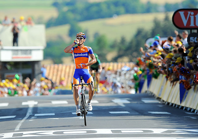 Rabobank rider Luis Leon Sanchez picked up his third career Tour stage victory, but the big news came farther back in the pack. Thomas Voeckler overtook Thor Hushovd for the yellow jersey.