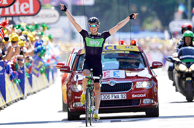 Edvald Boasson Hagan pedaled 111 miles through the Alps in 4 hours, 18 minutes for the Stage 17 victory. Thomas Voeckler held onto the yellow jersey for another stage but lost time, while Alberto Contador stayed 3 minutes, 15 seconds behind.