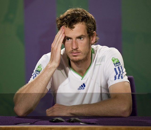 Andy Murray attends the post-match press conference after bowing to Rafael Nadal in the Wimbledon semifinals.