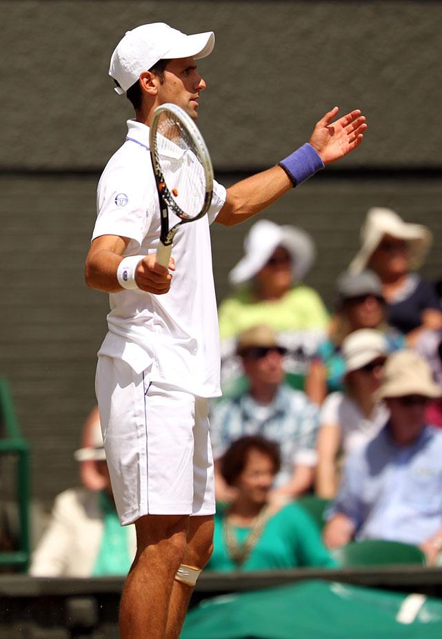 Novak Djokovic reacts during Friday's semifinal.