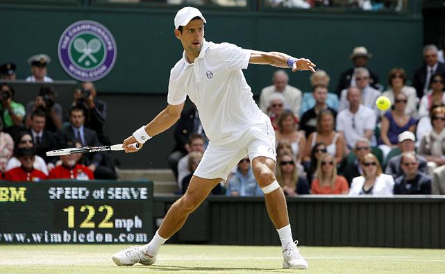 Novak Djokovic returns a shot to France's Jo-Wilfried Tsonga during their semifinal match.