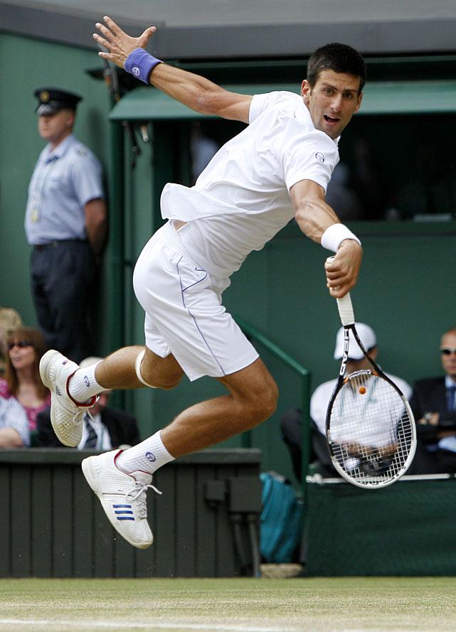 Novak Djokovic in action during his semifinal match against Jo-Wilfried Tsonga.