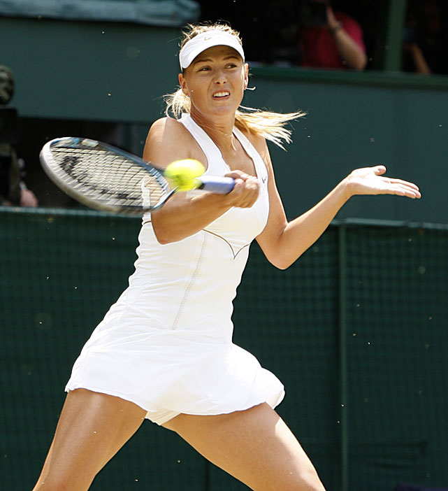 Maria Sharapova plays a return to Petra Kvitova during Saturday's match.