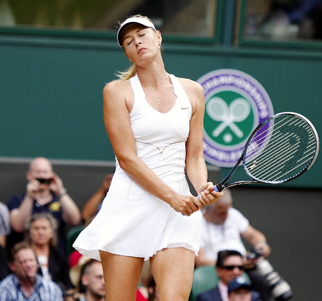 Maria Sharapova reacts after dropping a point to Petra Kvitova on Saturday in the women's final.