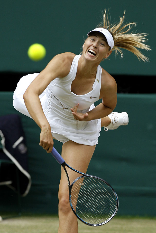 Maria Sharapova serves to Petra Kvitova on Saturday at Wimbledon.