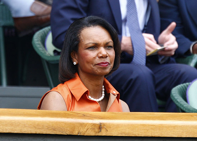 Condoleezza Rice watches the Saturday's women's final.