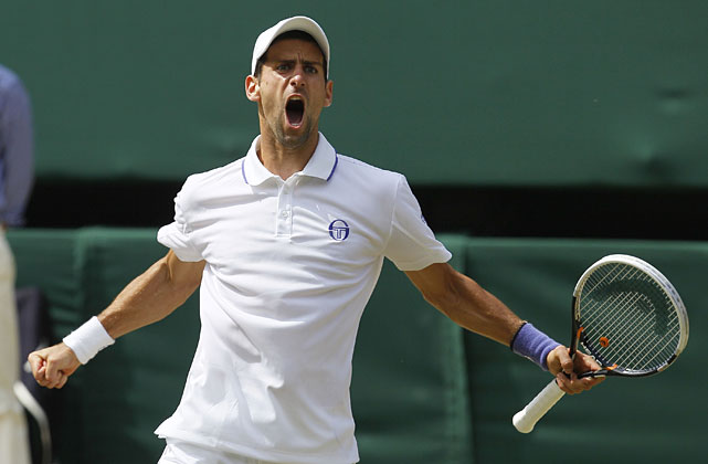 Serbia's Novak Djokovic celebrates during the Sunday's men's singles final against Spain's Rafael Nadal.
