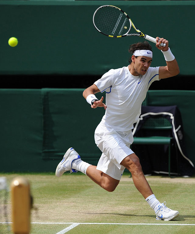 Rafael Nadal returns a shot to Novak Djokovic during Sunday's final.