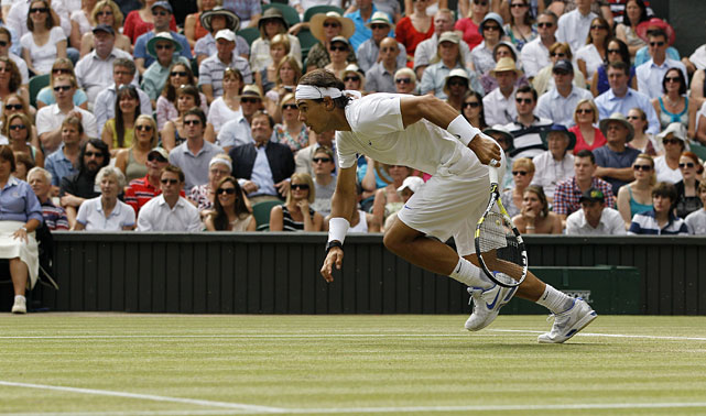 Rafael Nadal runs for a shot during Sunday's final.