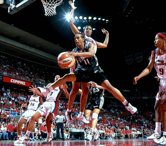 "A Texas native, ""T-Spoon"" spent most of her career with the New York Liberty and was a four-time All-Star. The two-time Defensive Player of the Year will always be remembered for her dramatic halfcourt shot to help extend the 1999 WNBA Finals. She is currently head coach of the women's program at her alma mater, Louisiana Tech."