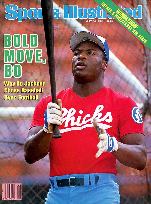 Bo Jackson was the top pick in the NFL draft (by Tampa Bay) and a fourth-round pick in the baseball draft (by Kansas City) in 1986. But the Heisman Trophy-winning running back from Auburn, who had an up-and-down career with the Tigers' baseball team, rejected the Bucs' reported five-year, $7 million offer and signed with the Royals in June. He made his big league debut that September. Back in the NFL draft in '87, Jackson was selected by the Los Angeles Raiders in the seventh round, and soon after he launched his two-sport pro career.