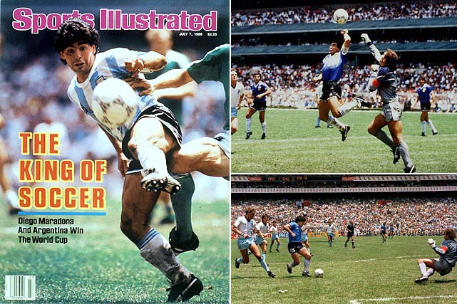 The 1986 World Cup ushered in a new king of soccer, as the 5-foot-5 Diego Maradona led Argentina to the title with two goals in the quarterfinals and two in the semifinals, along with the game-winning assist in the final against West Germany. It was his two strikes in the quarterfinals against England that still resonate -- the infamous Hand of God goal and his Goal of the Century, the latter coming after he eluded four defenders on a 60-yard dash.