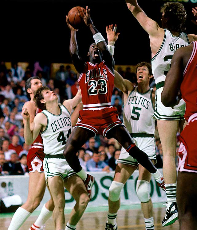 """God disguised as Michael Jordan"" is how Larry Bird described MJ's performance in the second game of a first-round playoff series between the Celtics and Bulls. Jordan, in his second year in the league, scored a playoff-record 63 points, on the heels of a 49-point outing in Game 1 at Boston Garden. The Celtics would sweep Chicago, but they came away awe-struck by His Airness. ""He is undoubtedly the best guard I ever saw play this bleeping game,"" Dennis Johnson told the  Los Angeles Times ."