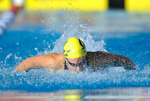 After winning the World Championships in the 100m butterfly, Dana Vollmer came back to the U.S. to take her spot on top of the podium at Nationals in the 100m butterfly.