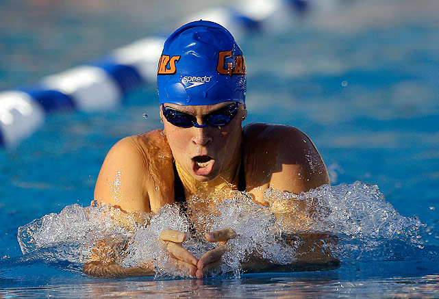 The University of Florida swimmer backed up her 400-meter individual medley title at the world championships by winning more individual national championships than any other swimmer.
