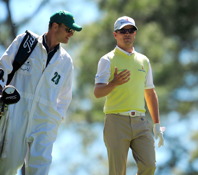 Roddick caddies for Zach Johnson during the Par 3 contest at the Masters.