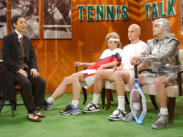 In this November 2003 episode of  Saturday Night Live , Roddick does his best Andre Agassi impression in a skit with Maya Rudolph (as Scott Joplin), Seth Meyers (as young Andre Agassi) and Will Forte (as future Andre Agassi).
