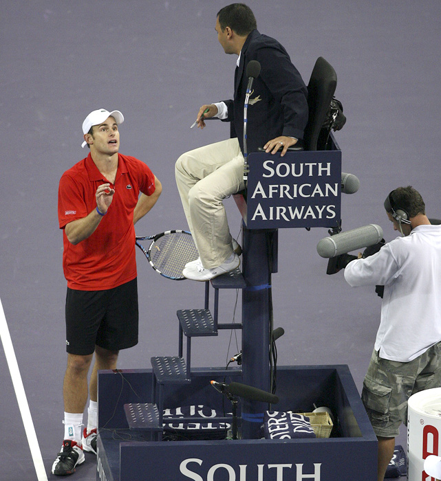 Roddick, who is known for his sometimes tempestuous nature on the court, argues with an umpire during a match against Ivan Ljubicic in Shanghai.