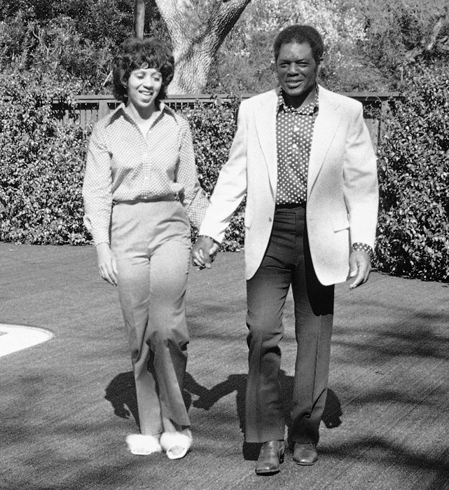 Willie Mays and his wife, Mae, walk  the grounds of their home in Atherton, Calif.  The couple married in 1971 after Mays divorced his first wife, Margherite.