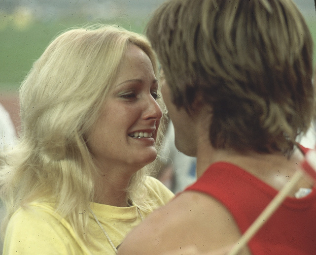 Bruce Jenner is greeted by his wife, Chrystie, after winning gold in the 1976 Summer Olympics. The couple were married from 1972 to 1980 and have two children. Jenner would later marry Kris Jenner and become a part of the Kardashian clan.
