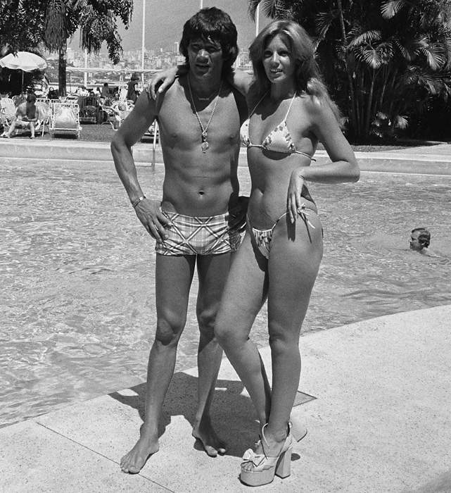 Argentine boxer Carlos Monzon relaxes in Caracas with his girlfriend and actress, Suzana Giminez, between shoots for a Venezuelan TV show.