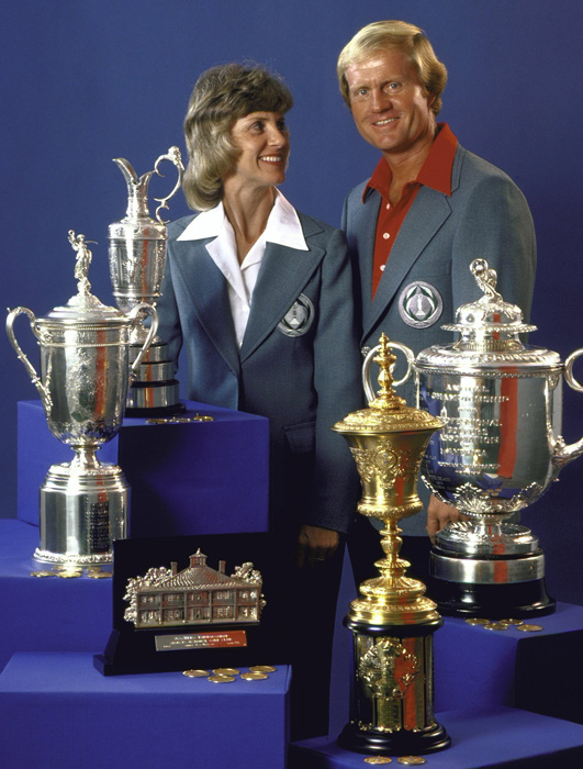 Jack Nicklaus and his wife, Barbara, pose with the US Open trophy, Masters trophy, British Open Claret Jug, US Amateur trophy, and Rodman Wanamaker PGA trophy. The couple have been married since 1960 and have five children.