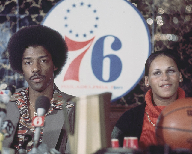 Julius and Turquoise Erving address reporters during a press conference before Erving's first NBA game in 1976. The two were married over 30 years before divorcing in 2003.